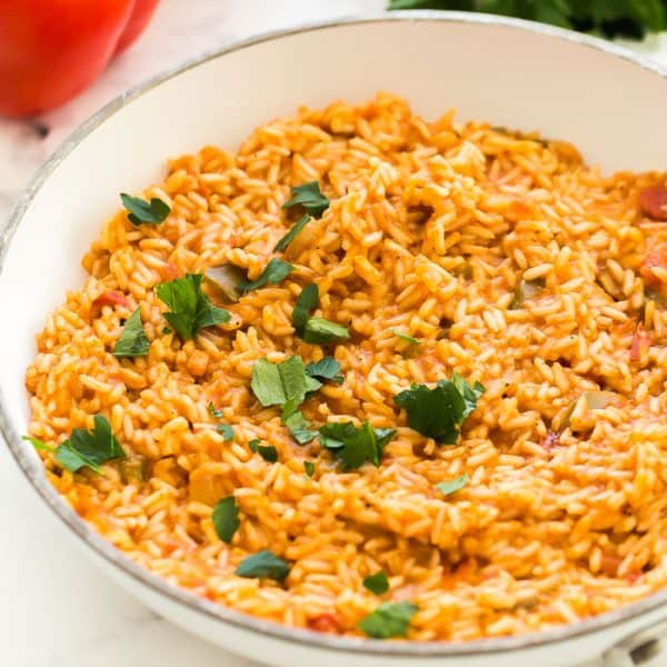 mexican rice close up in pan