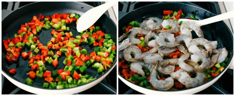 Red and green bell peppers chopped and diced sautéing in a skillet then adding in shrimp to sauté.