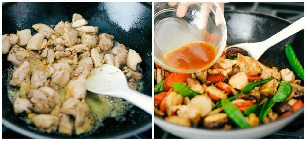 Process of making moo goo Gai pan.