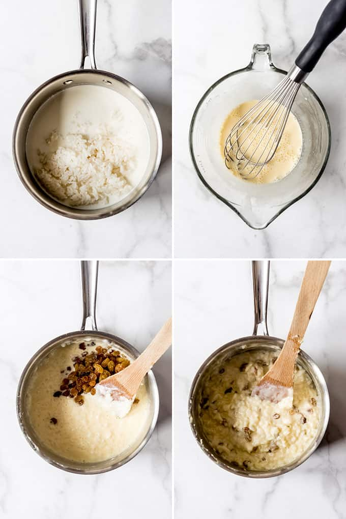 A collage of images showing how to make rice pudding.