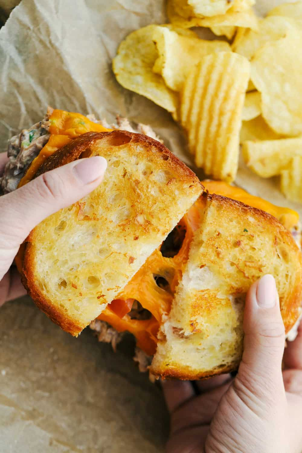 A tuna melt sandwich being pulled apart in a photo with chips on the side.