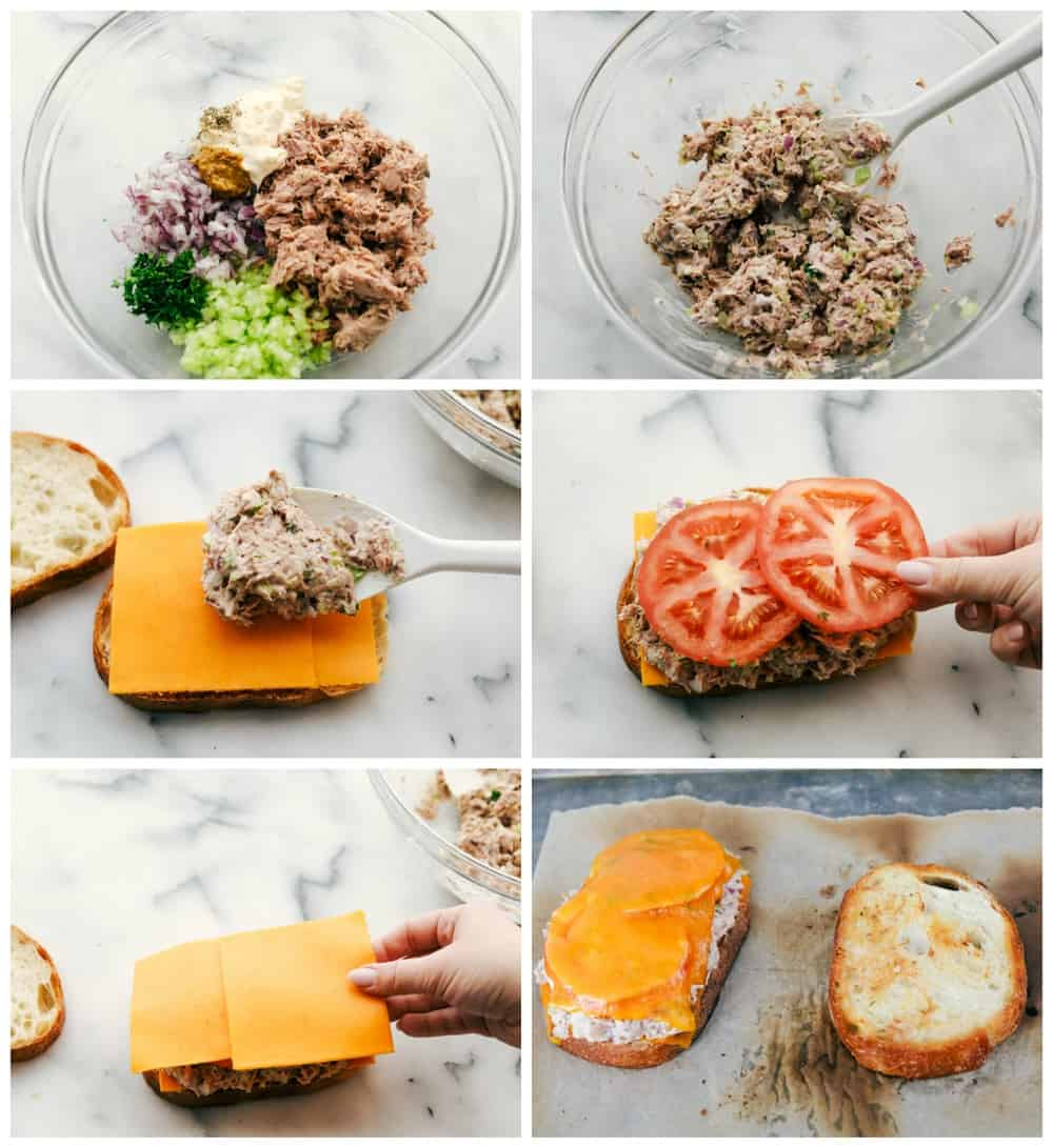 The process of mixing the tuna fish mixture then layering the sandwich with cheese and tomatoes in six different photos.
