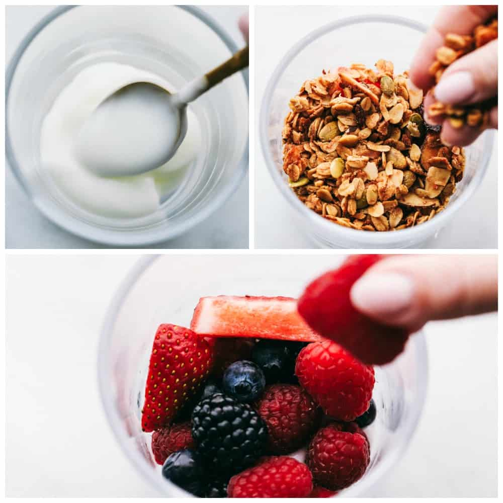 The layering process of a yogurt parfait. First cup has a spoon adding in yogurt, then a cup full of granola. Lastly a cup full of berries.