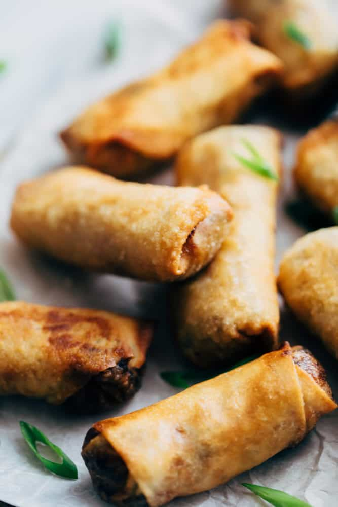 Closeup of egg rolls