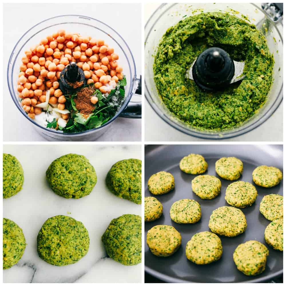 The process of mixing the falafel in a food process. The first photo is the garbanzo beans and other ingredients, then the next is a photo of it mixed together and green then formed into 1 to 2 inch round patties and fried on a skillet.