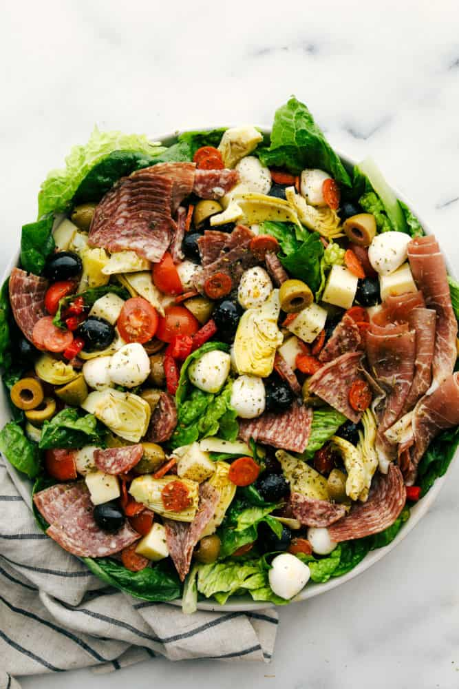 Antipasto salad in a bowl.