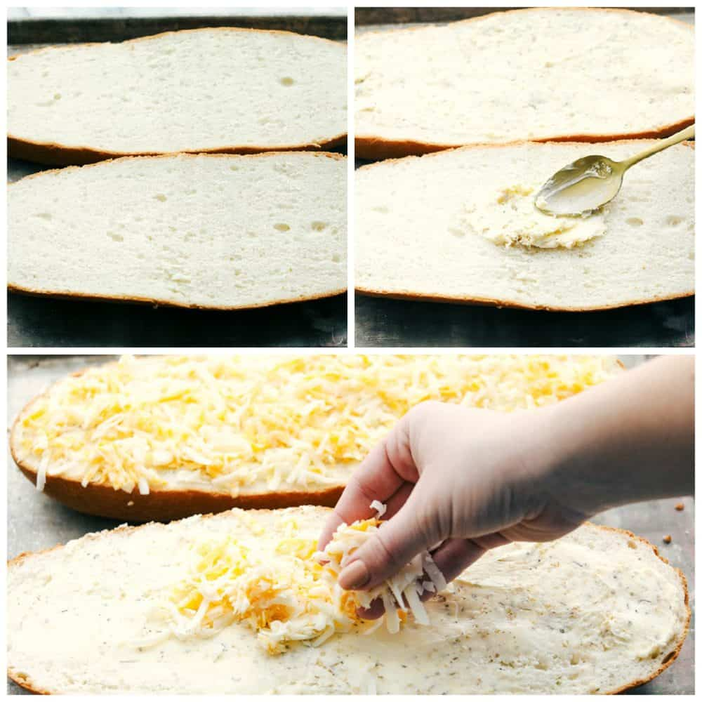 The process of making cheese garlic bread with the bread cut in half then buttered and sprinkled with cheese.