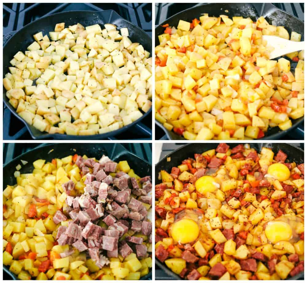 The process of cooking potatoes, adding in red bell peppers in the skillet, then adding leftover corned beef and adding eggs on top.