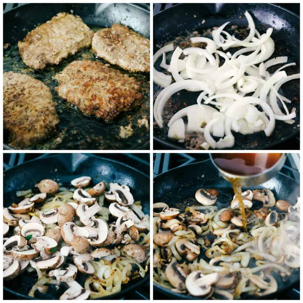 The process of making cube steak. Cooking cube steak on a skillet, then caramelizing onions and mushrooms together making a mushroom gravy sauce.