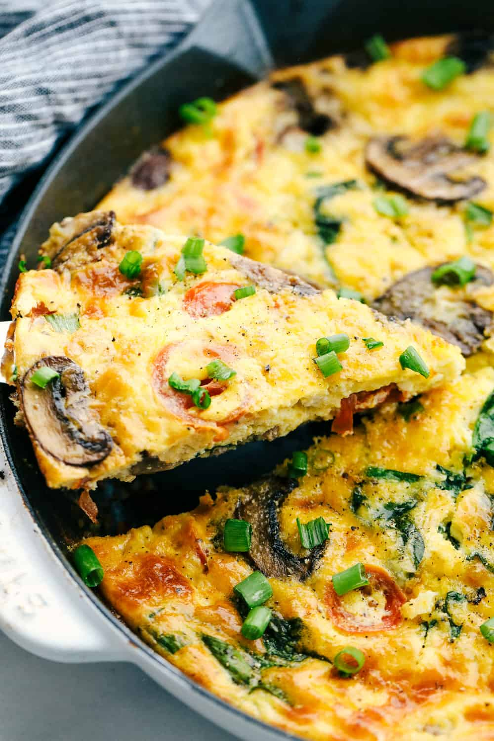 Breakfast frittata cooked in a skillet.