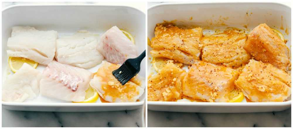 The process of baking cajun garlic butter cod. Filets of cod placed in a baking pan brushed cajun garlic butter on them then the after photo of it on the cajun butter on the cod filets.