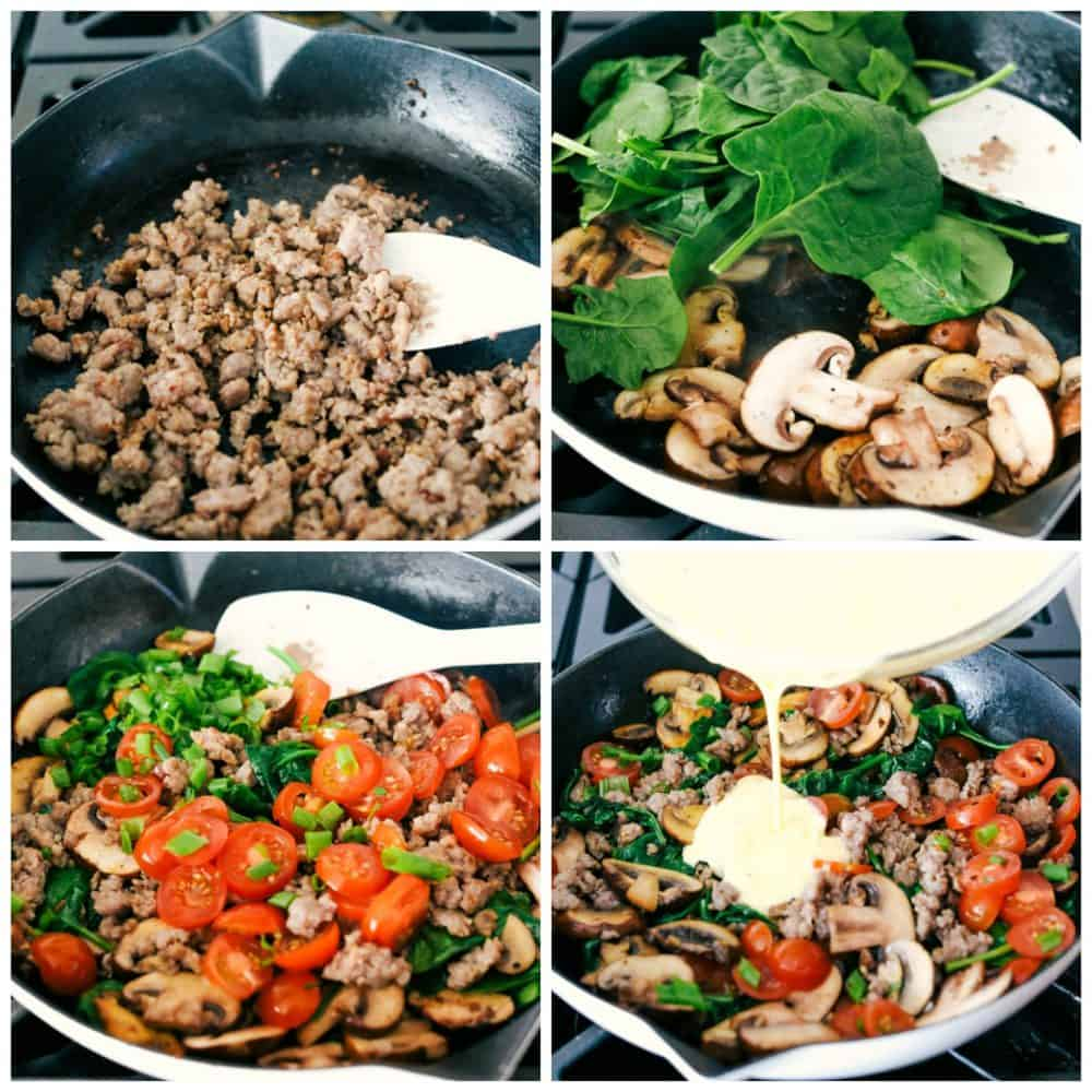 The process of making frittata starting with warming ground sausage in a skillet, adding spinach and mushrooms then cooking with tomatoes and eggs poured over top in a skillet.