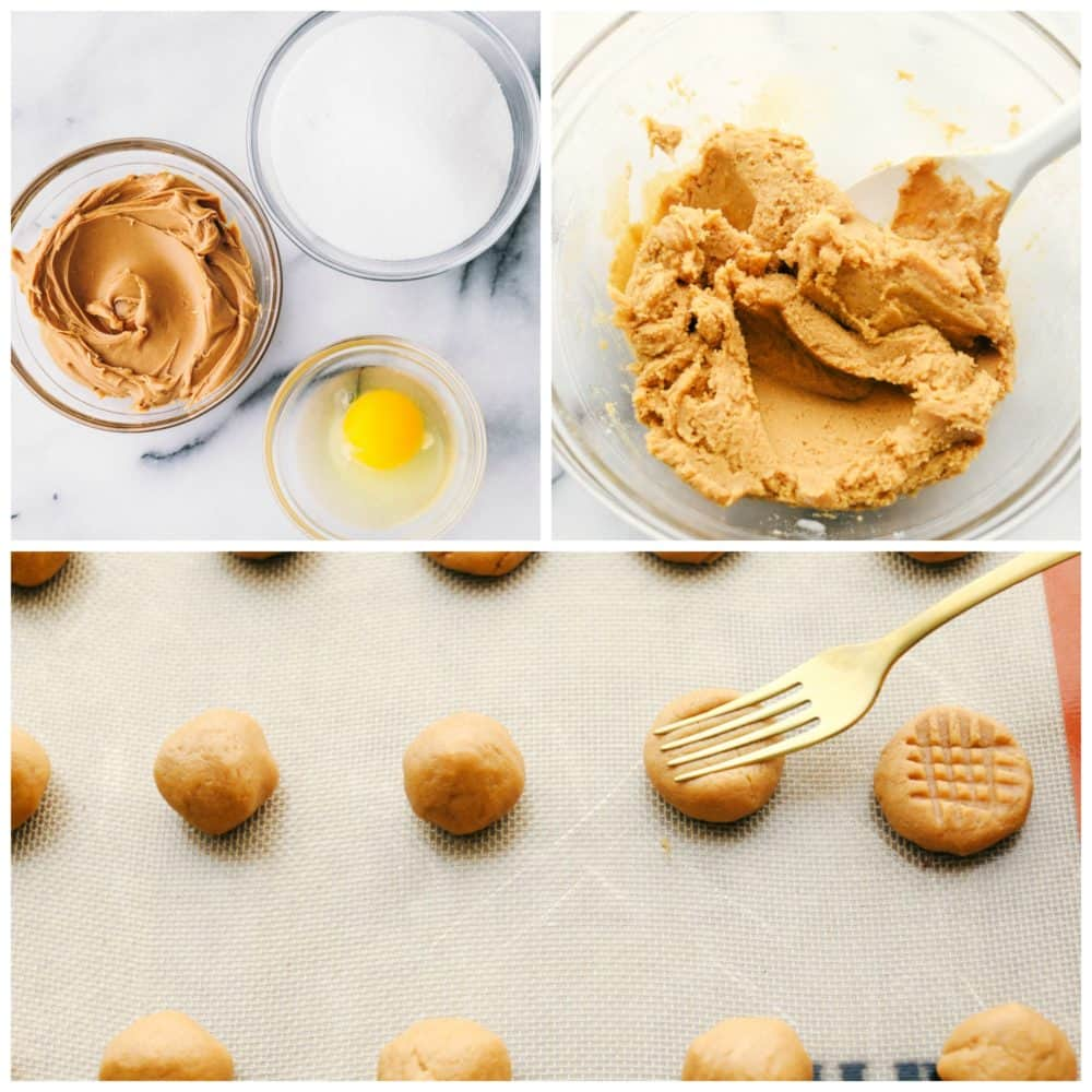 The process of 3 ingredient peanut butter with the 3 ingredients in one photo, peanut butter, sugar and an egg then stirred together and rolled in balls and flattened with a fork.