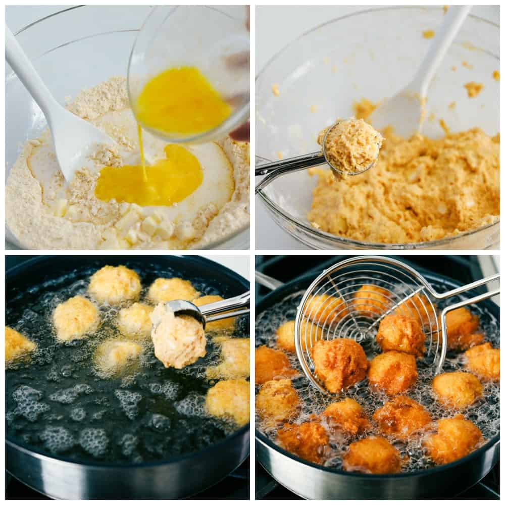 The process of making hush puppies with the cornmeal and egg mixed together, the dough formed in a ball then added to the oil for frying until golden brown. Then removed with a strainer from the oil.