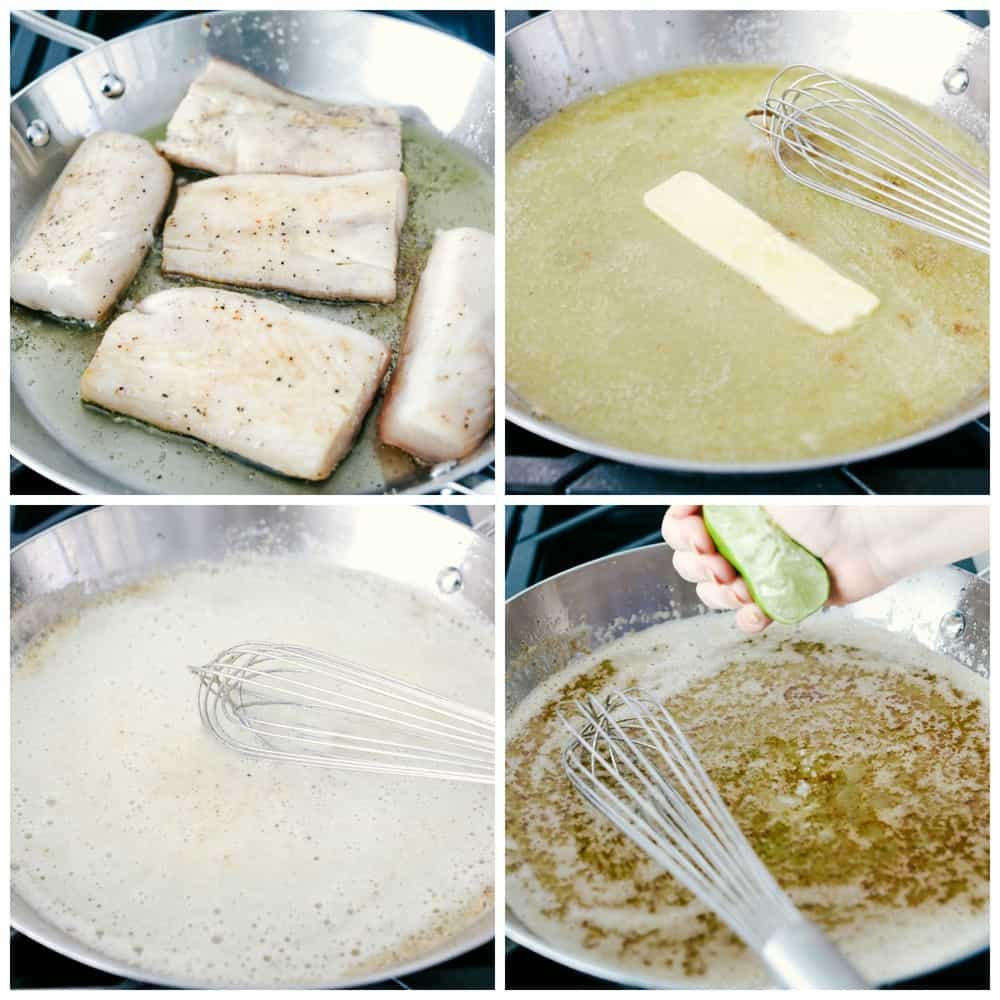 The process photos of the Mahi Mahi filets being cooked in a skillet. First photo shows filets being cooked in oil, then removing the Mahi Mahi the butter is being melter and whisked together in seasonings and lime juice is being squeezed overtop.