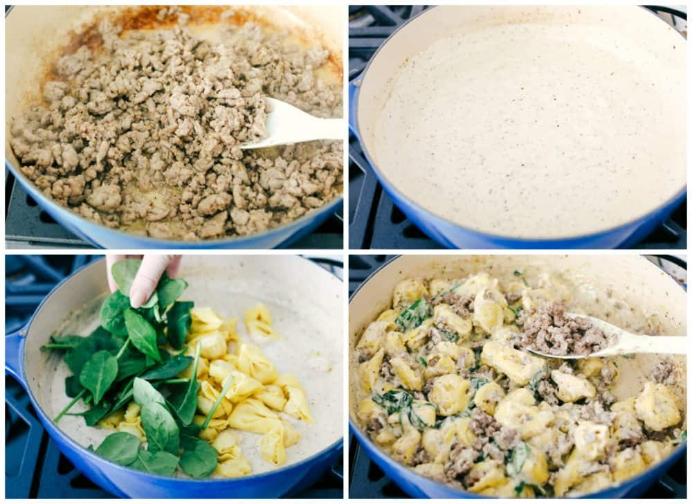 The process of making sausage tortellini in a skillet. First, cook the ground sausage, then make creamy sauce and add in tortellini, spinach and sausage then stir together in the one skillet.