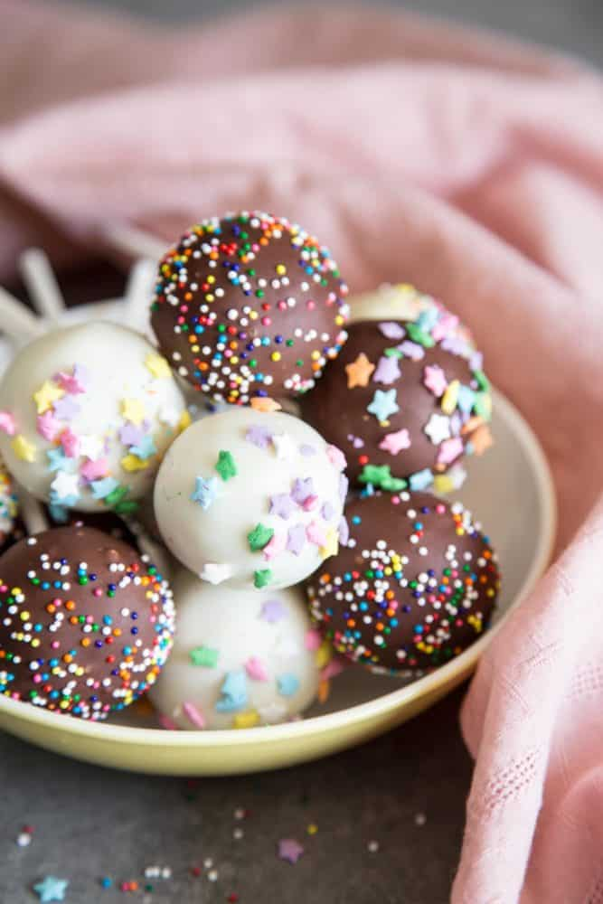 Cake pops in a bowl
