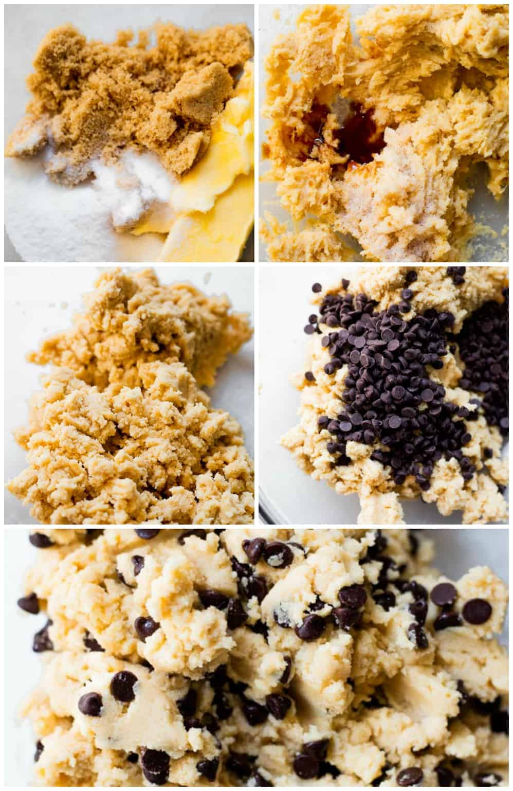 The process of making edible chocolate chip cookie dough.