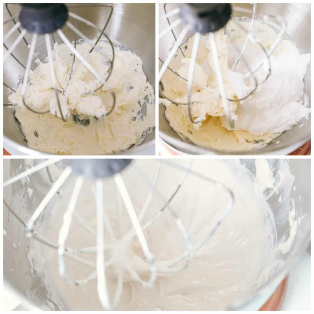 Mixing the marshmallow cream cheese fruit dip together in a kitchen aid mixer.