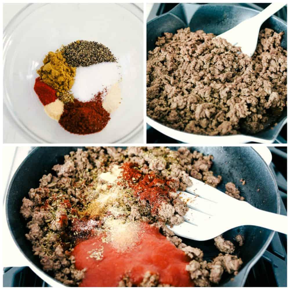 Faire l'assaisonnement de tacos fait maison et l'ajouter au boeuf haché après qu'il soit cuit, puis ajouter la pâte de tomate et mélanger.