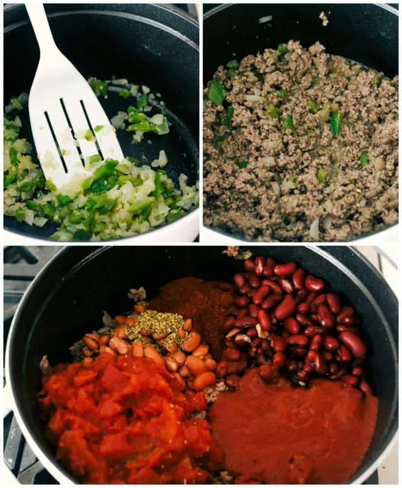The process of making chili by sautéing the onions and green peppers, cooking the ground beef and adding the beans, tomatoes and seasonings into the pot to simmer.