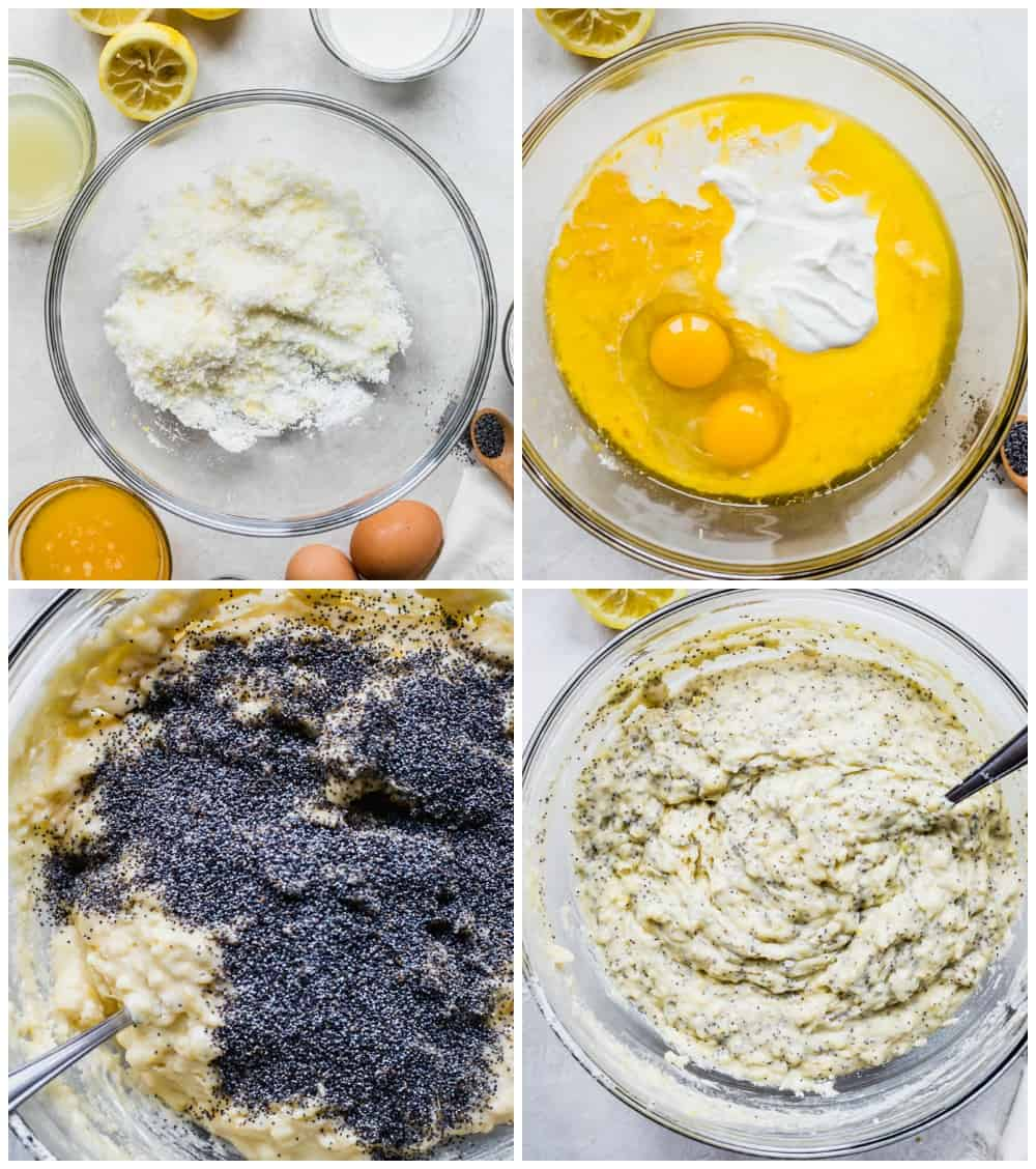 The process of making poppyseed muffins using a glass bowl.