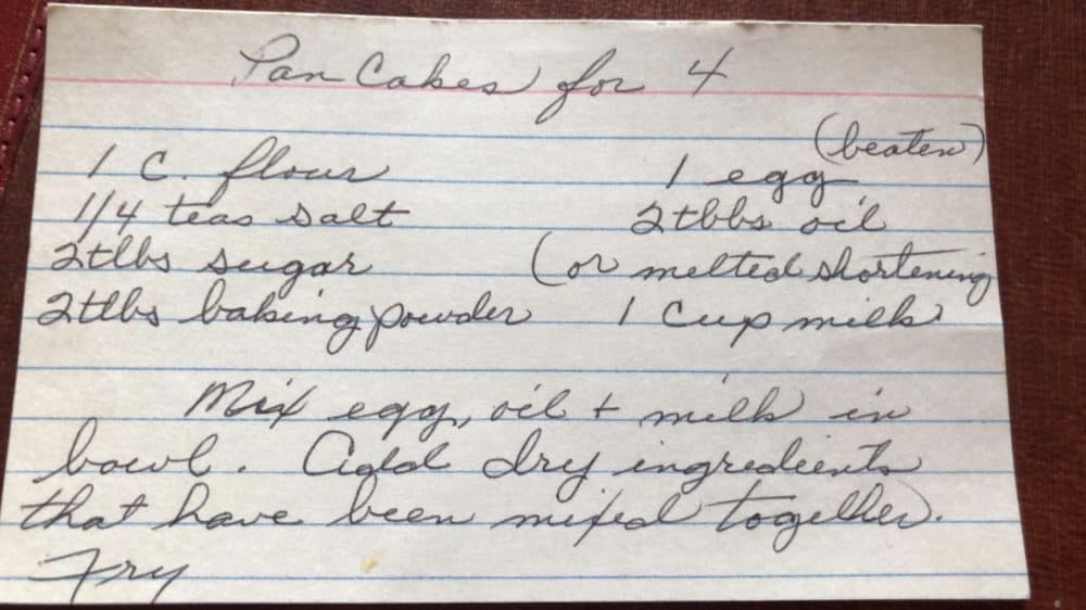 Grandma's recipe card with ingredients she hand wrote.