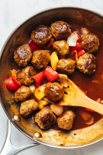 Sweet and sour meatballs in a skillet
