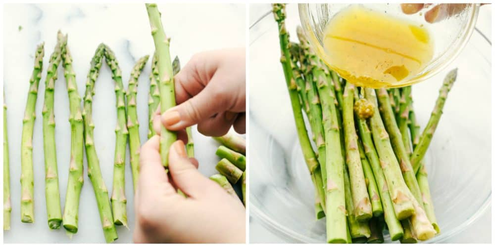 Two photos preparing the asparagus. One photo on the left hand side showing the asparagus being broken and the the right hand photo with the asparagus in a large glass bowl having the dressing marinade being poured over top.