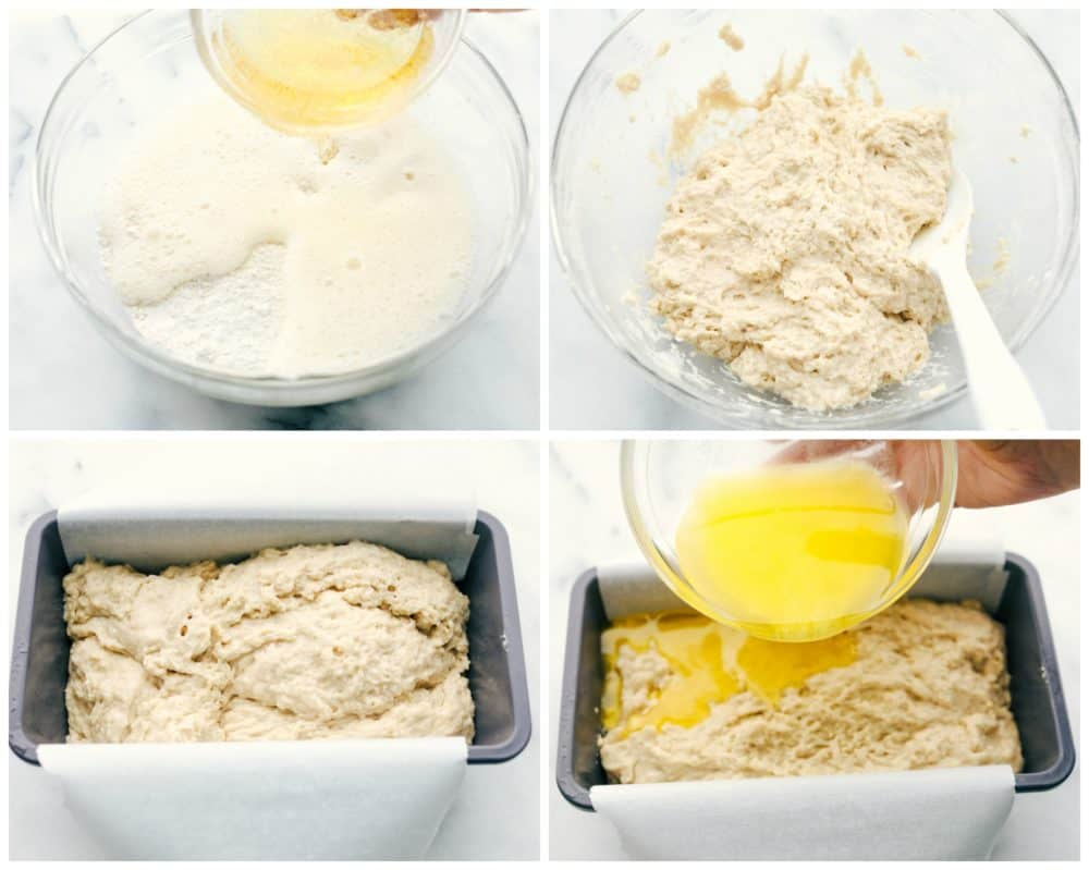 The process of making butter beer bread by combining all ingredients together then letting it sit then adding it to a loaf pan with parchment paper underneath.