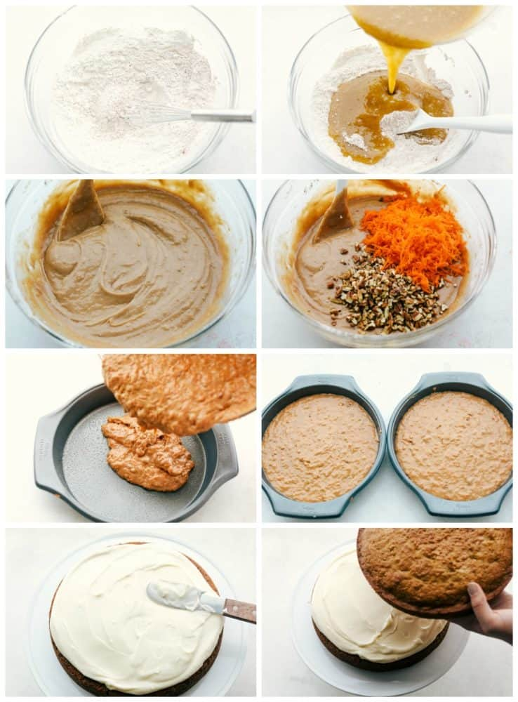 The process of making carrot cake.