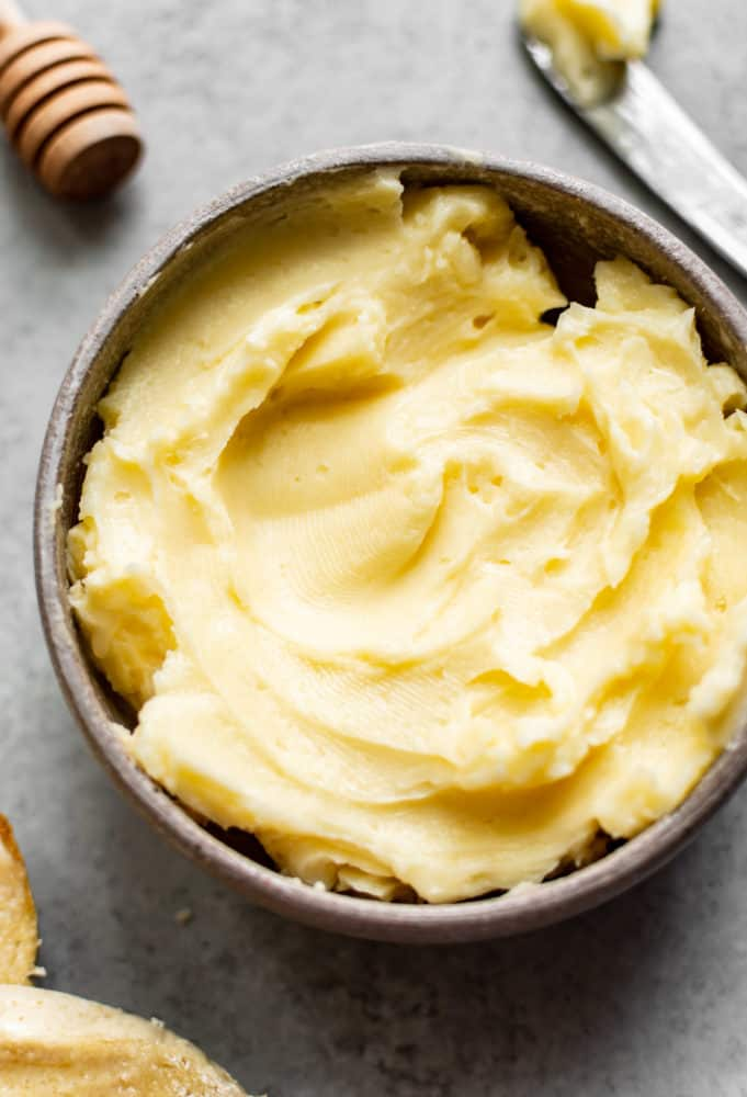 Honey butter in a bowl.