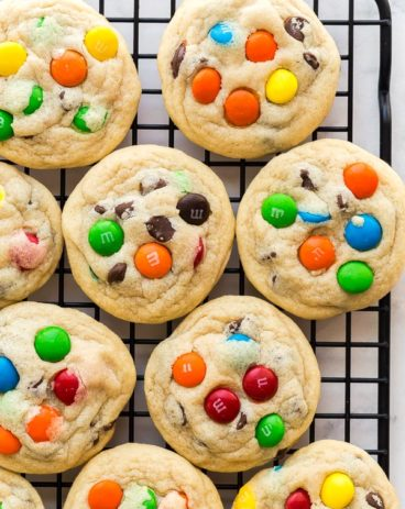 m&M cookies overhead