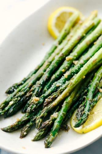 preparing the asparagus