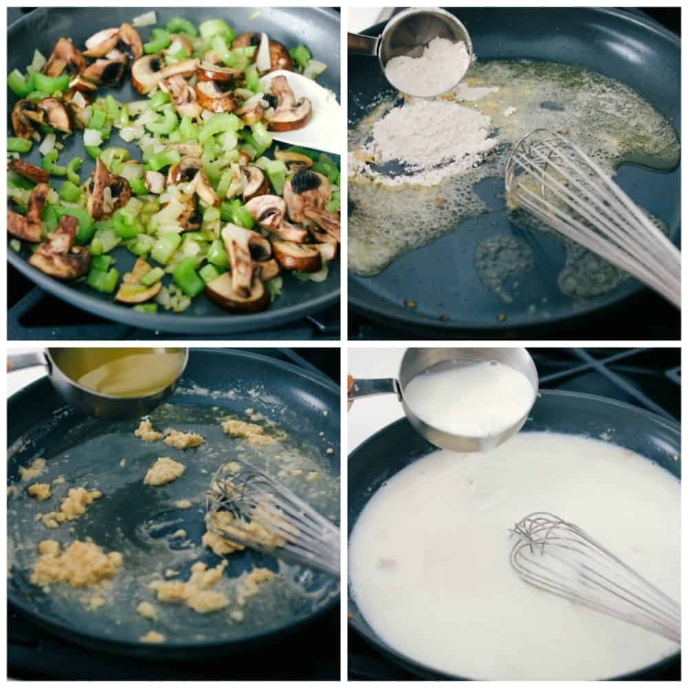 The process of sautéing mushrooms celery then making a roux with flour, chicken broth and milk.
