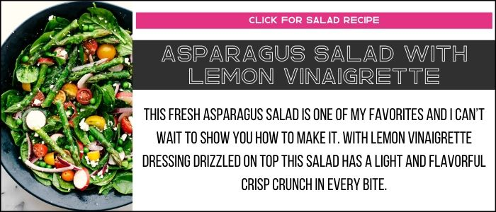 Asparagus salad with lemon vinaigrette salad with summary on a recipe card link.