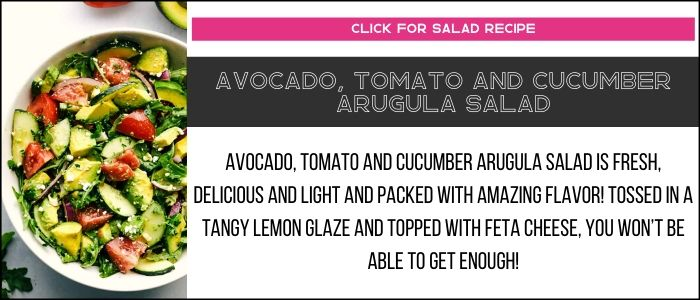 Avocado, tomato and cucumber arugula salad photo with summary on a recipe card link.