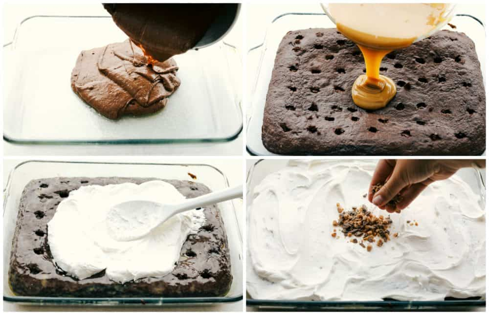 The process of making better than anything cake in four photos showing the batter being poured in a cake pan, the chocolate cake poked with caramel sauce poured in the holes, then the cool whip being spread of top and the heath sprinkled.