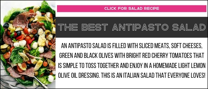 Antipasto salad photo with summary on a recipe card link.