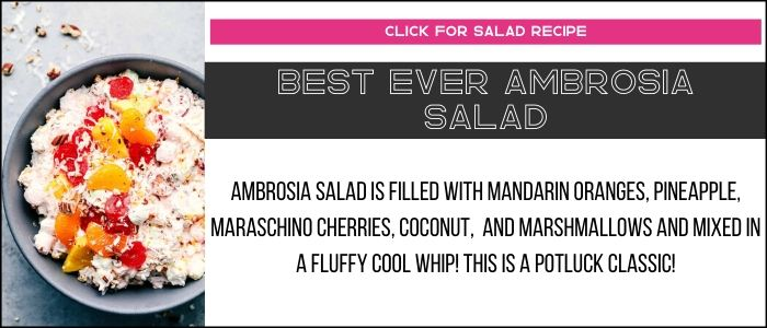 Best ever ambrosia salad photo with summary on a recipe card link.