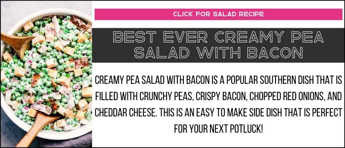 Best ever creamy pea salad with bacon photo with summary on a recipe card link.