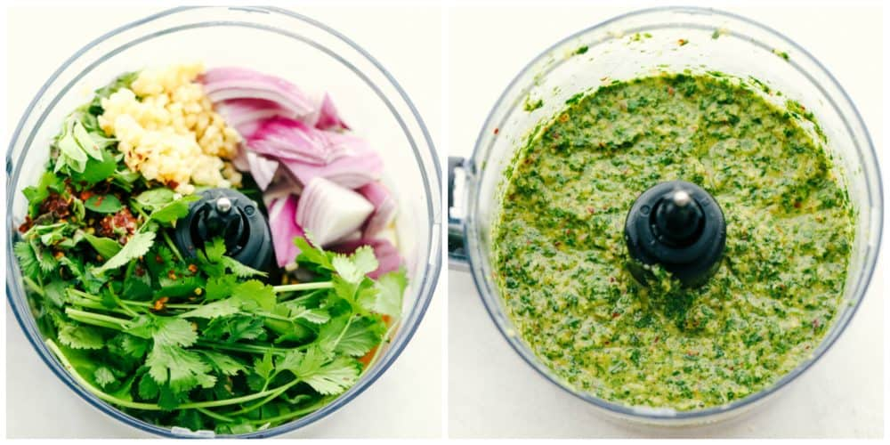 Blender full of chimichurri sauce ingredients and another blender with it blended together.