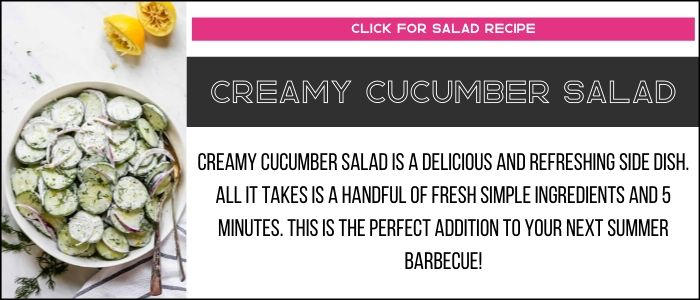 Creamy cucumber salad photo with summary on a recipe card link.