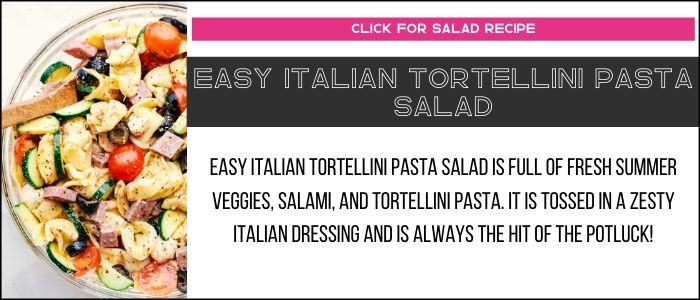Easy Italian tortellini pasta salad photo with summary on a recipe card link.