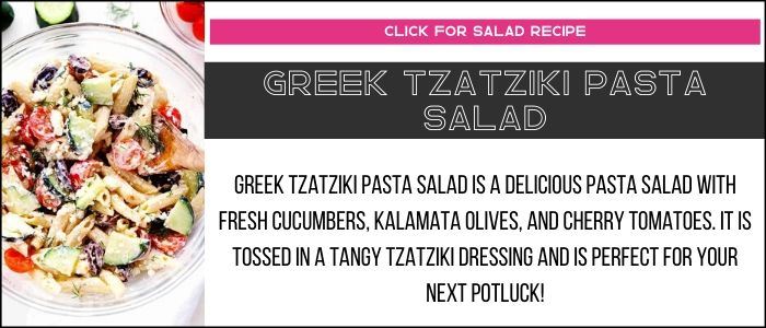 Greek tzatziki pasta salad photo with summary on a recipe card link.