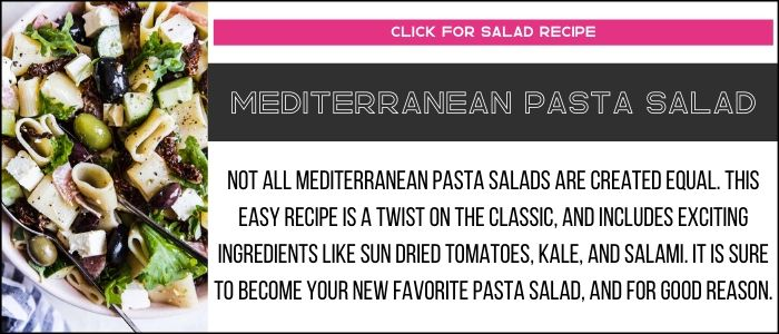 Mediterranean pasta salad photo with summary on a recipe card link.