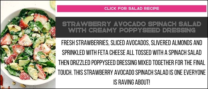 Strawberry avocado spinach salad with creamy poppyseed dressing photo with summary on a recipe card link.