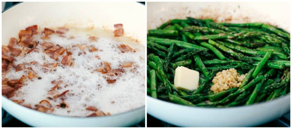 A photo collage of bacon being cooked in a white skillet and the other photo of asparagus being cooked with butter and garlic.