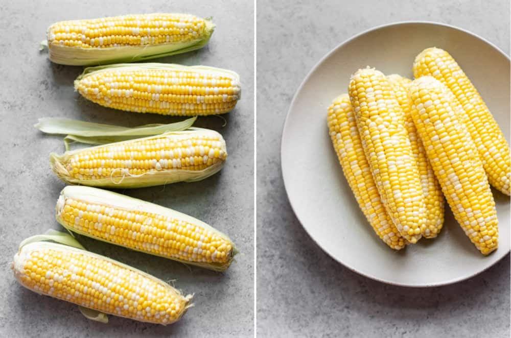grilled corn collage (corn ears with husks and without)