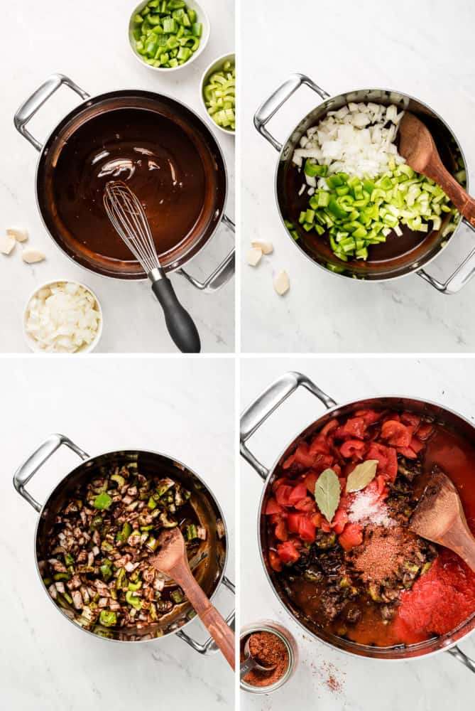 Process shots of making a dark roux; mixing in celery, onion, and green bell pepper; and adding in tomatoes and seasoning.